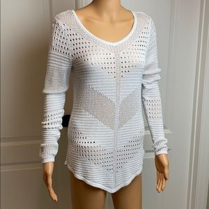 Jennifer Lopez White and Silver Crocheted Sweater